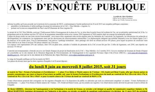Enquête publique emportant mise en compatibilité du PLU de la commune de Nice sur la ZAC Nice Méridia du lundi 8 juin au mercredi 8 juillet